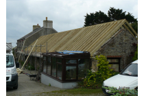 Replacement roof for clients near St. Davids who unfortunately experienced a fire from a wood burner. We had renewed the roof on the main house a few years previously.