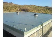 Finished fibreglass roof. The clients intend laying turf - St. Davids